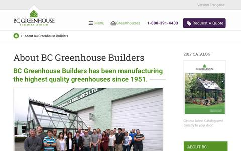 Screenshot of About Page bcgreenhouses.com - About BC Greenhouse | BC Greenhouse Builders Ltd. - captured May 6, 2017