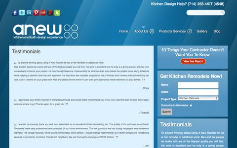 Screenshot of Testimonials Page anewkitcheninc.com - Testimonials - captured Oct. 4, 2014