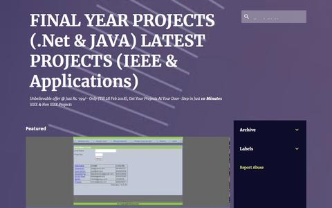 Screenshot of Home Page final-sem-projects.blogspot.com - FINAL YEAR PROJECTS (.Net & JAVA) LATEST PROJECTS (IEEE & Applications) - captured Sept. 22, 2018