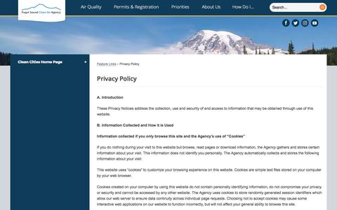 Screenshot of Privacy Page pscleanair.org - Privacy Policy | Puget Sound Clean Air Agency, WA - captured Sept. 19, 2017