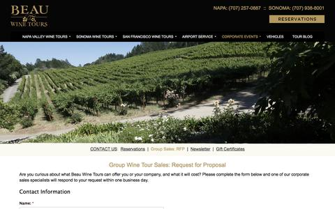 Request for Proposal - Group Wine Tour Sales - Beau Wine Tours