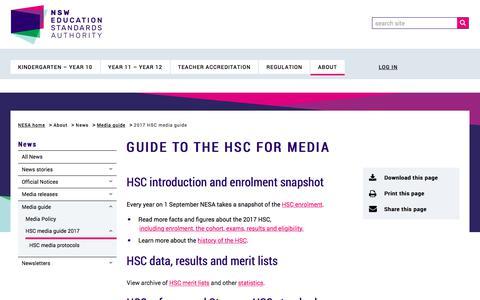 Screenshot of Press Page educationstandards.nsw.edu.au - 2017 HSC media guide | NSW Education Standards - captured Feb. 2, 2018