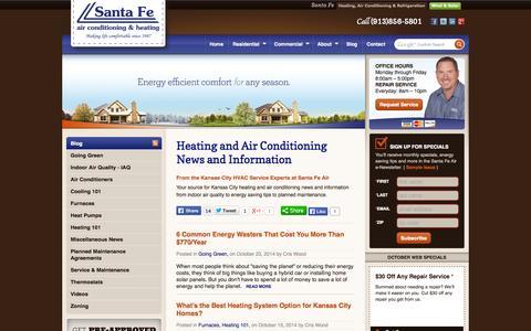 Screenshot of Blog santafeair.com - KC Air Conditioning and Heating News and Information | Santa Fe Air Blog - captured Oct. 27, 2014