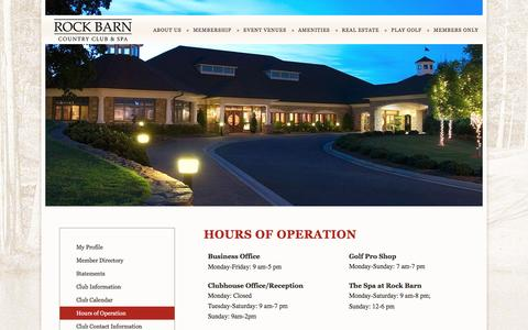Screenshot of Hours Page rockbarn.com - Rock Barn Golf & Spa Hours | Resort Destination | Event Venue| Conover, NC  - Rock Barn Golf & Spa - captured June 20, 2016