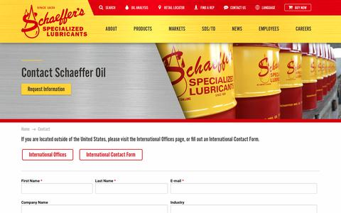 Screenshot of Contact Page schaefferoil.com - Schaeffer Oil | Contact Schaeffer Oil - Synthetic Motor Oil, Lubricant Manufacturer - captured Nov. 12, 2018