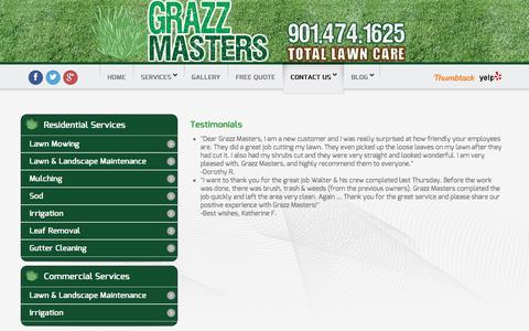 Screenshot of Testimonials Page grazzmasters.com - Testimonials - Grazz Masters - captured Sept. 18, 2017