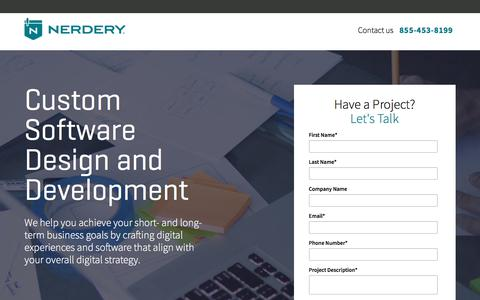 Screenshot of Landing Page nerdery.com - Custom Software Development and Design | The Nerdery | Nerdery - captured Sept. 20, 2017