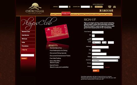 Screenshot of Signup Page chukchansigold.com - Chukchansi Gold Resort & Casino - Players Club Sign-Up - captured Oct. 2, 2014