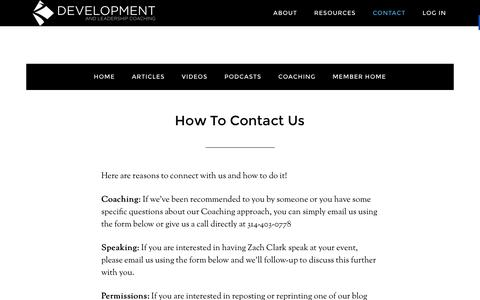 Screenshot of Contact Page developmentandleadership.org - How To Contact Us - Development and Leadership Coaching - - captured Feb. 9, 2016