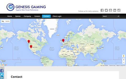 Screenshot of Contact Page gen-game.com - Contact - Genesis Gaming - captured Jan. 27, 2016