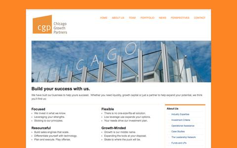 Screenshot of About Page cgp.com - About Us | Chicago Growth Partners - captured Oct. 2, 2014