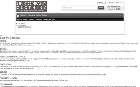 Screenshot of Terms Page ukcompanyclothing.co.uk - UK Company Clothing Terms and Conditions - captured Nov. 11, 2018