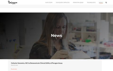 Screenshot of Press Page cofactorgenomics.com - News | Cofactor Genomics - captured July 18, 2018