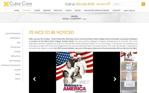 Screenshot of Press Page cubecare.com - Media For Cube Care - captured Jan. 18, 2020