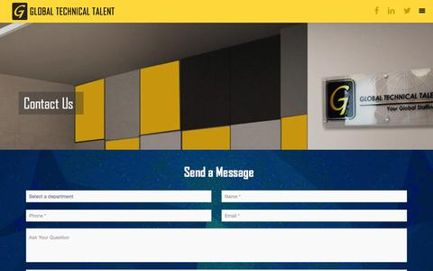 Screenshot of Contact Page gttit.com - Contact - Global Technical TalentGlobal Technical Talent - captured Aug. 17, 2016