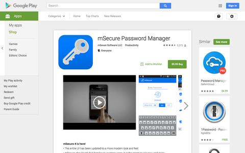 Screenshot of Android App Page google.com - mSecure Password Manager - Android Apps on Google Play - captured Nov. 23, 2015