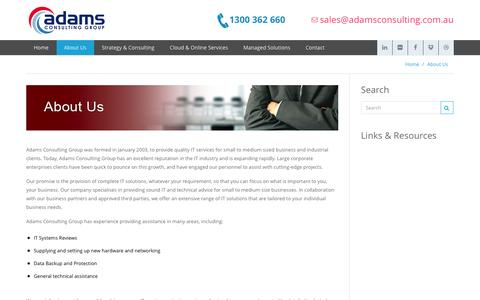 Screenshot of About Page adamsconsulting.com.au - About Adams Consulting Group - captured Feb. 5, 2016
