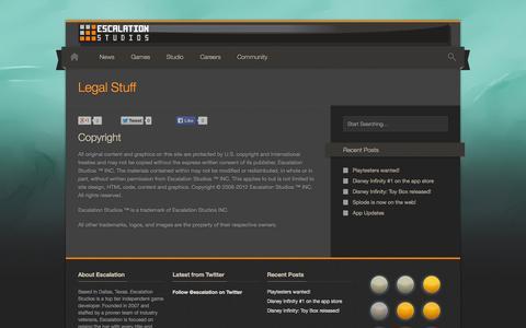 Screenshot of Terms Page escalationstudios.com - Legal Stuff – Escalation Studios - captured Sept. 30, 2014