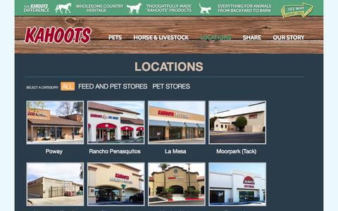 Screenshot of Locations Page kahootsfeedandpet.com - LOCATIONS | Kahoots Feed and Pet StoreKahoots Feed and Pet Store - captured Sept. 23, 2014