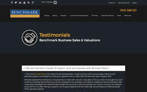 Screenshot of Testimonials Page benchmarkbusiness.com.au - Testimonials - Benchmark Business Sales & Valuations - Benchmark Business Sales & Valuations - captured Nov. 22, 2016