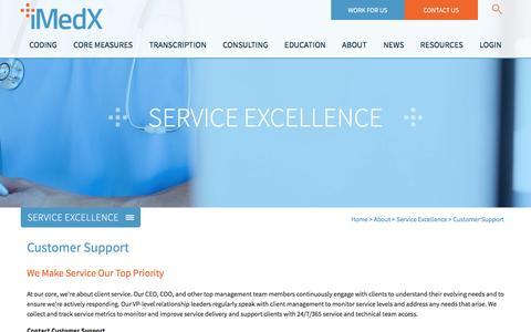 Screenshot of Support Page imedx.com - iMedX | Customer Support - captured Sept. 30, 2016