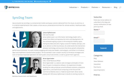 Screenshot of Team Page syncdog.com - SyncDog Team | SyncDog Secure.Systems | Mobile Security - captured March 19, 2019
