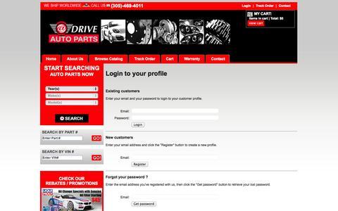 Screenshot of Login Page sophio.com - ATDRIVE AUTOPARTS EUROPEAN CAR PARTS / BMW PARTS / MERCEDES BENZ PARTS / MINI COOPER PARTS / PORSCHE PARTS / AUDI PARTS / VOLKSWAGEN PARTS / LAND ROVER PARTS / SAAB PARTS / VOLVO PARTS - captured Oct. 27, 2014