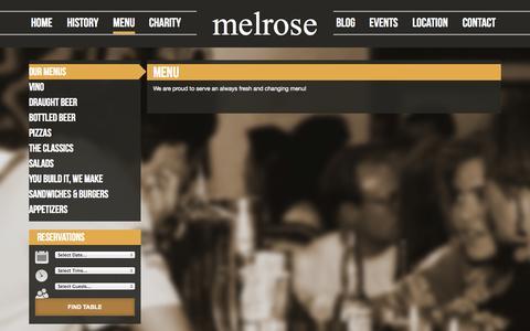 Screenshot of Menu Page melrosecalgary.com - Menu - Melrose Cafe & BarMelrose Cafe & Bar - captured Oct. 27, 2014