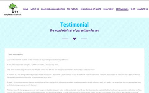 Screenshot of Testimonials Page earlychildhoodpartnerscolorado.org - Early Childhood Partners Supporting Quality, Early Childhood Experiences Children Families - captured Sept. 26, 2018