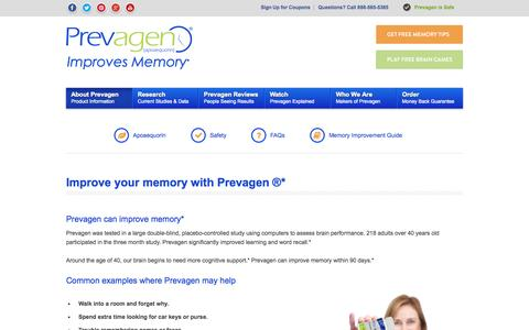 Screenshot of About Page prevagen.com - Improve your memory : Prevagen is clinically shown to improve memory - captured Sept. 22, 2014
