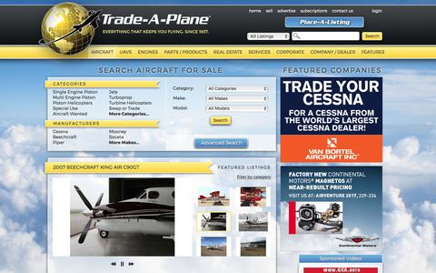 Screenshot of Home Page trade-a-plane.com - Search For Aircraft & Aircraft Parts - Airplane Sale, Jets, Helicopters, UAVs, Drones, & Aviation Real Estate | Trade-A-Plane - captured June 29, 2017