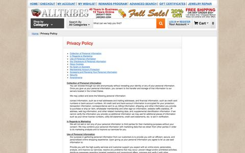 Screenshot of Privacy Page alltribes.com - Privacy Policy    Alltribes - captured Sept. 25, 2014