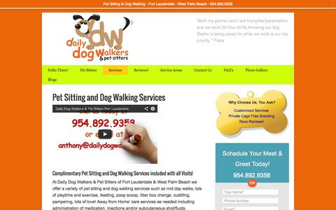 Screenshot of Services Page dailydogwalkers.com - Pet Sitting and Dog Walking Services  - dailydogwalkers.com - captured Sept. 30, 2014