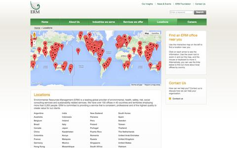 Screenshot of Locations Page erm.com - Locations     - Environmental Resources Management (ERM) - captured Oct. 30, 2014