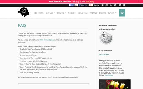 Screenshot of FAQ Page divtagtemplates.com - FAQ - DivTag - Weebly Templates & Weebly Themes - captured Oct. 31, 2014