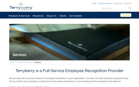 Screenshot of Services Page terryberry.com - Employee Recognition Program Management & Support - captured Nov. 28, 2016