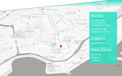 Screenshot of Contact Page talk-to-me.ch - Contactez-nous pour discuter de votre projet - captured Nov. 5, 2014