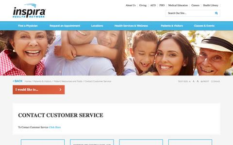 Screenshot of Support Page inspirahealthnetwork.org - Contact Customer Service - Inspira Health Network - captured Nov. 26, 2016