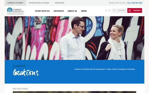 Screenshot of Locations Page careersaustralia.edu.au - Campus Locations - Careers Australia - captured Oct. 28, 2014