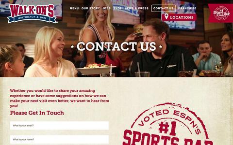 Screenshot of Contact Page walk-ons.com - Contact Us | Walk-On's Bistreaux & Bar - captured Oct. 27, 2014