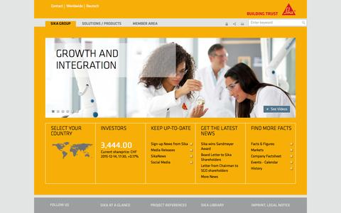 Screenshot of Home Page sika.com - Sika Group - captured Dec. 14, 2015