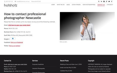 Screenshot of Contact Page hotshotz.com.au - contact professional photographer Newcastle - captured Sept. 29, 2016