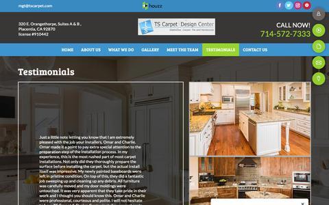 Screenshot of Testimonials Page tscarpet.com - testimonials - Placentia, CA - TS Carpet & Design Center - captured Nov. 16, 2018