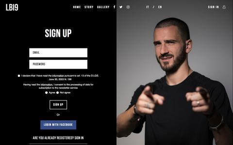 Screenshot of Signup Page leonardobonucci.it - Sign up | Leonardo Bonucci - captured Feb. 5, 2018