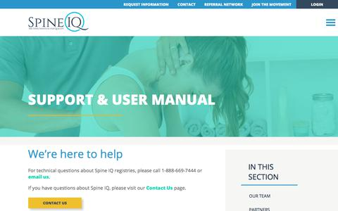 Screenshot of Support Page spineiq.org - Support & User Manual - Spine IQ - captured July 8, 2018