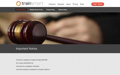 Screenshot of Terms Page trainsmart.com - Important Notice - Trainsmart Trainsmart - captured Oct. 7, 2014