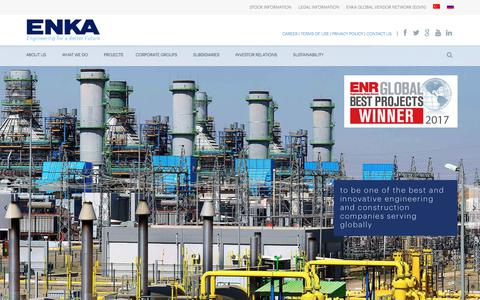 Screenshot of Home Page enka.com - ENKA İnşaat ve Sanayi A.Ş. | ENKA is the largest construction company in Turkey and ranked among the ENR's Top International Contractors since 1982. - captured June 1, 2018