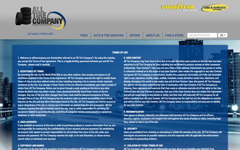 Screenshot of Terms Page alltirecompany.com - Terms of Use and Conditions | All Tire Company - captured Sept. 30, 2014
