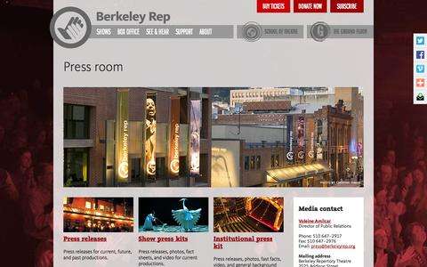 Screenshot of Press Page berkeleyrep.org - Berkeley Rep Press Room - captured Oct. 5, 2014