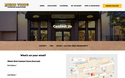 Screenshot of Contact Page whichwich.com - Contact Which Wich® | Which Wich Superior Sandwiches - captured Aug. 5, 2017